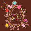Cute Easter background with colored flowers - Stok Vektr