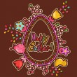 Cute Easter background with colored flowers - Stockvectorbeeld