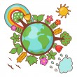 Green planet, ecology illustration - Stock vektor