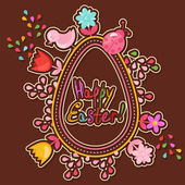 Cute Easter background with colored flowers — Stockvektor
