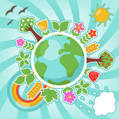 Green planet, ecology illustration — Stock Vector
