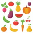 Stock Vector: Various Fruits and Vegetables