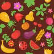 Various Fruits and Vegetables seamless pattern - Векторная иллюстрация