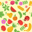 Various Fruits and Vegetables seamless pattern — Stock Vector #5057807