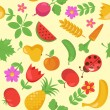 Various Fruits and Vegetables seamless pattern - Stock vektor