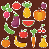Various Fruits and Vegetables — Stock Vector