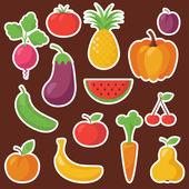 各种水果和蔬菜 — 图库矢量图片