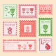 Vintage stamps. Spring illustration. - 图库矢量图片