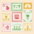 Vintage stamps. Spring illustration. - Stok Vektör
