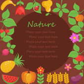 Various Fruits and Vegetables border — Stock Vector