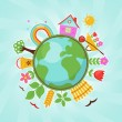 Green planet, spring illustration — Imagen vectorial