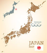 Japan map with seismic epicenter — Stock Vector