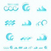 Ensemble de symboles de la vague pour la conception — Vecteur