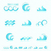 Set of wave symbols for design — Vector de stock