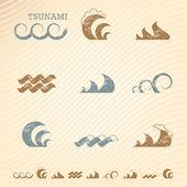 Conjunto de símbolos de onda grunge para diseño — Vector de stock