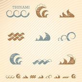 Set of grunge wave symbols for design — Stok Vektör