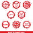 Set of red sale stickers - Stock Vector