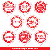Set of red sale stickers — Stock Vector