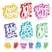 Multicolour retail signs — Stock Vector