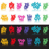 многоцветная розничной знаки — Cтоковый вектор