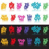 Signos multicolor por menor — Vector de stock