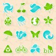Glossy nature and water symbols — Stockvectorbeeld