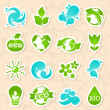 Stock Vector: Glossy nature and water symbols