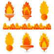 Stock Vector: Flame icons on white background
