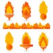 Flame icons on white background - Stock Vector