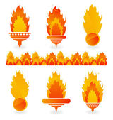 Flame icons on white background — Stock Vector