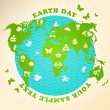 Earth Day illustration with ecology symbols - Imagen vectorial
