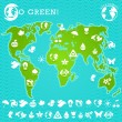 Green Earth Map Illustration - Imagen vectorial