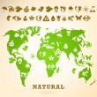 Green Earth illustration with ecology icons - Imagen vectorial