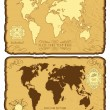 World map in vintage style - Vettoriali Stock 