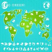 Green Earth Map Illustration — Stock Vector