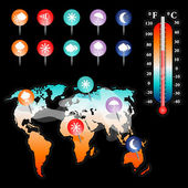 Weather and Climate vector set — Stockvektor