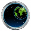 Porthole space view - Stock Vector