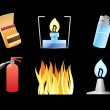 Icons for fire — Stock Vector