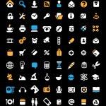 значок набор на черном фоне — Cтоковый вектор