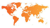 Carte du monde orange — Vecteur