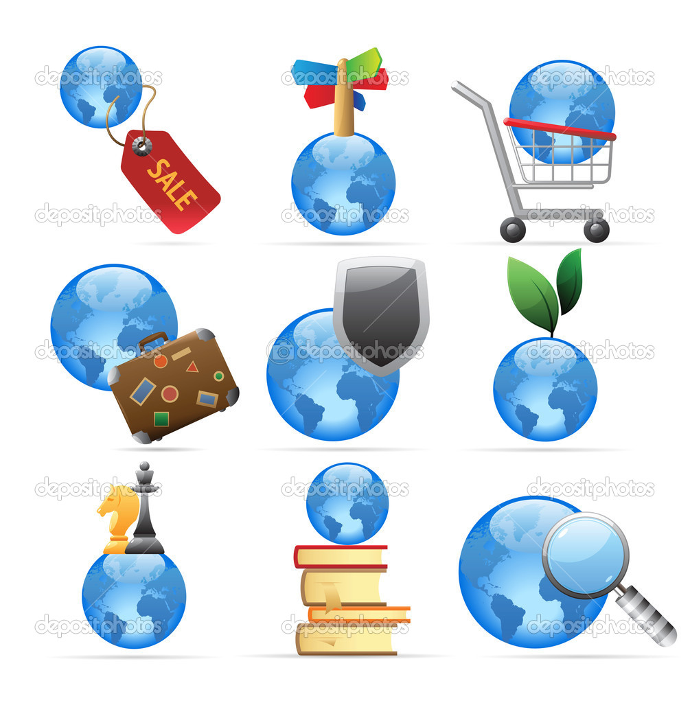 Icons for global concepts. Vector illustration. — Stockvektor #4244804