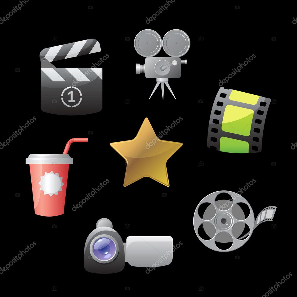 Icons for movies. Vector illustration.  Stock Vector #4244815