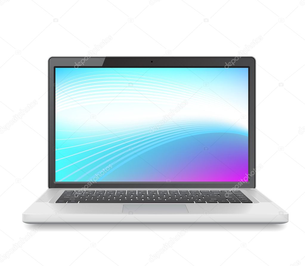 High detailed vector laptop with abstract colorful background on screen. — Stock Vector #4244839