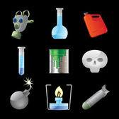 Icons for dangerous chemistry — Stock Vector