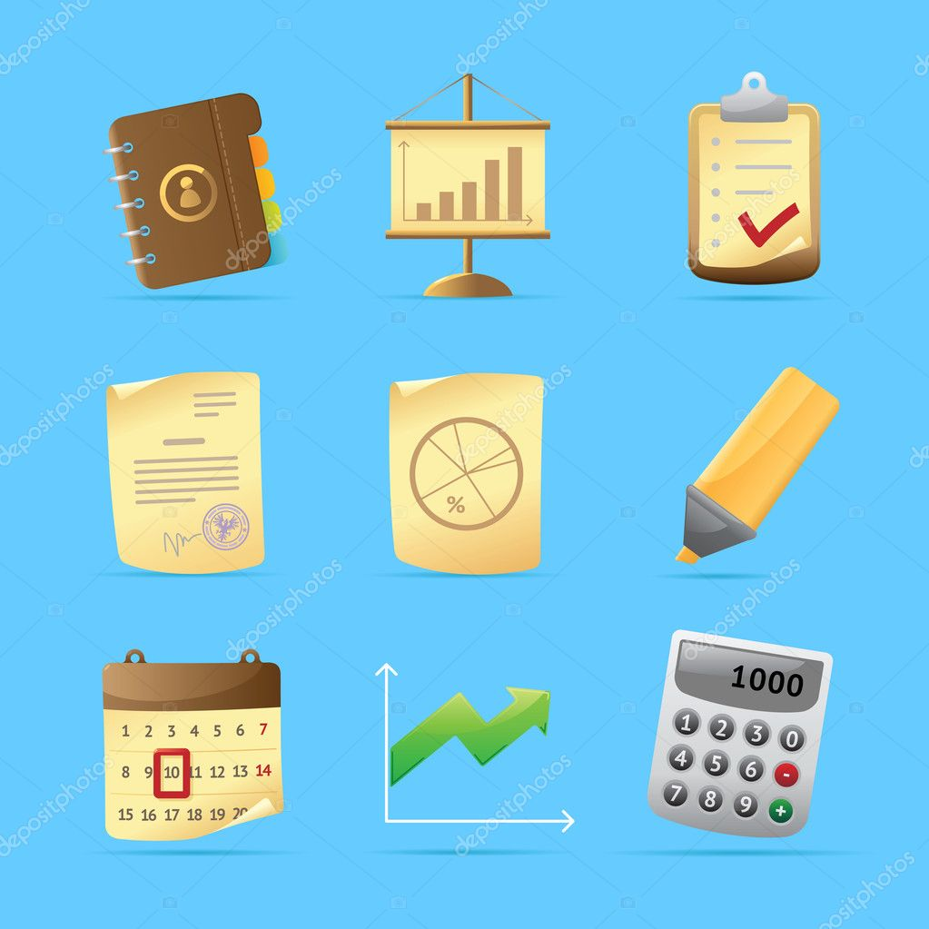 Icons for office and stationery. Vector illustration. — Stock Vector #4666233