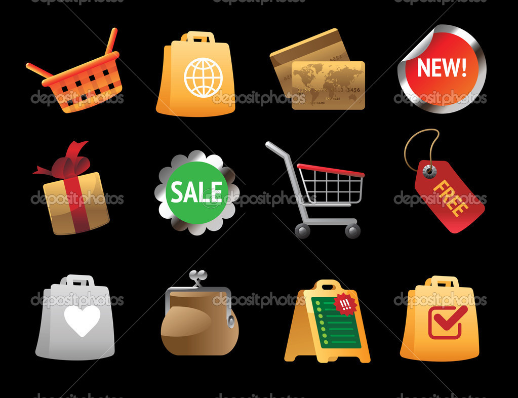 Icons for shopping. Vector illustration. — Stock Vector #4666245