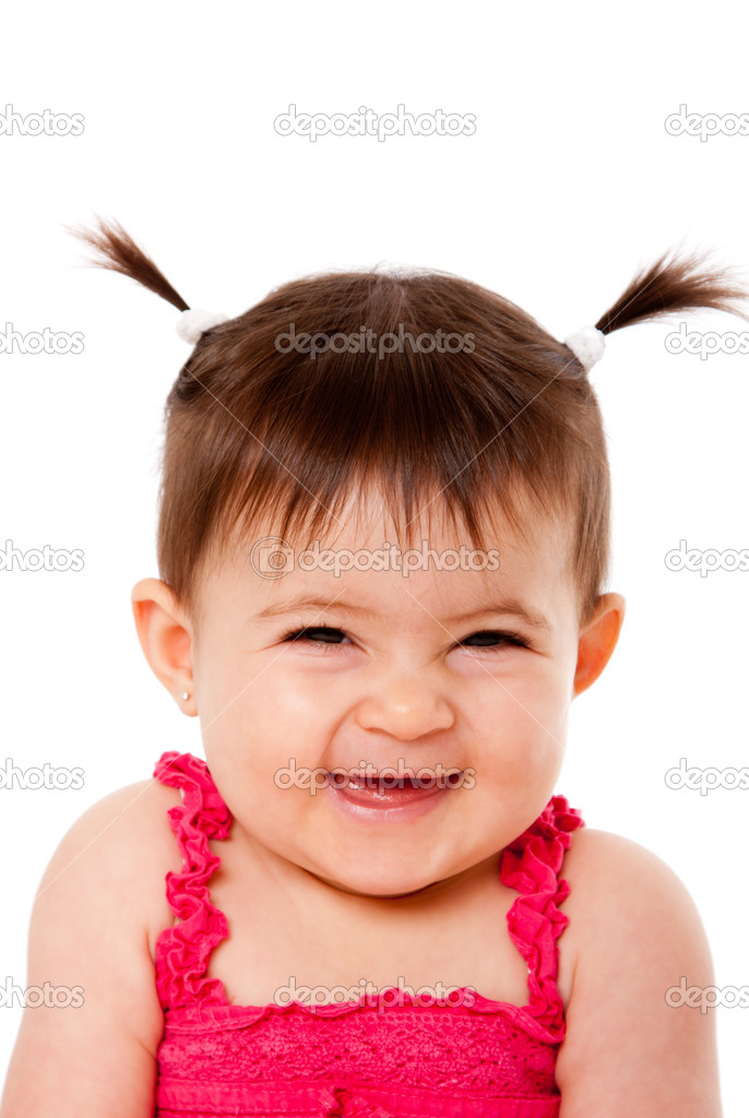 Face of cute happy smiling laughing baby infant girl with ponytails giggling, isolated. — Stock Photo #3962815