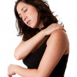 Woman with shoulder neck pain — Stock Photo