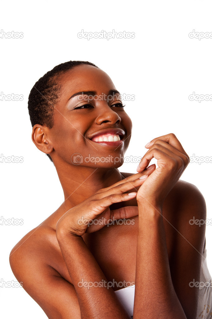 Beautiful happy smiling inspiring African woman with short curly hair and great skin showing teeth, isolated. — Stock Photo #4899100