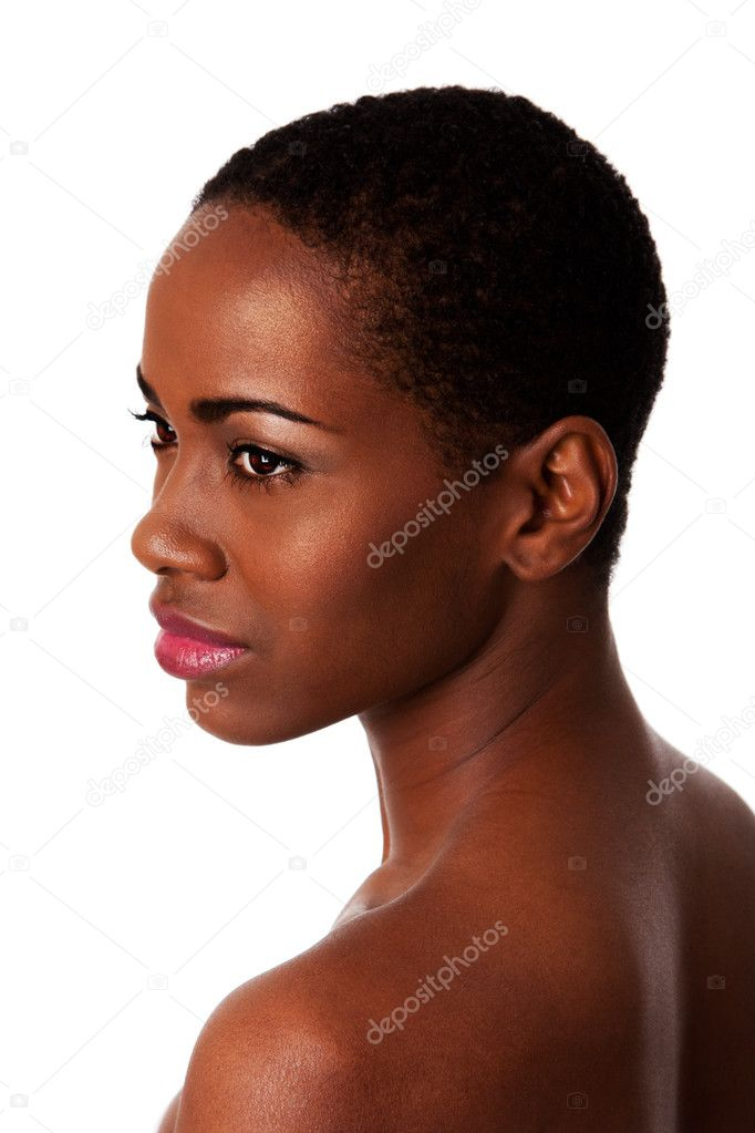 Face of a beautiful African woman with good smooth skin and short curly hair, isolated. — Stock Photo #4906431